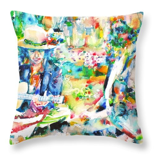 ALLEN GINSBERG and BOB DYLAN - watercolor portrait Throw Pillow