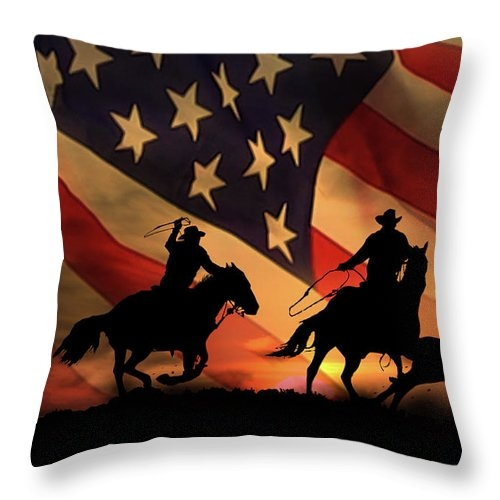 American Cowboy, Team Ropers with American Flag Throw Pillow