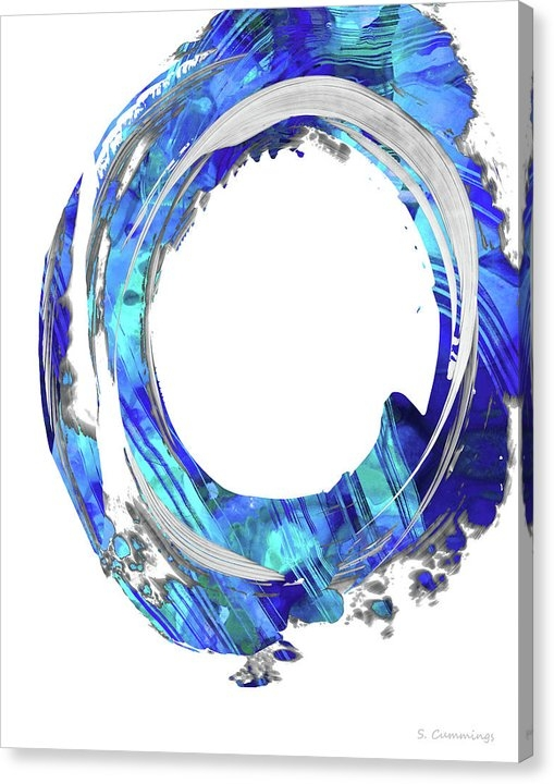 Blue and White Abstract - Swirling 1 - Sharon Cummings Canvas Print