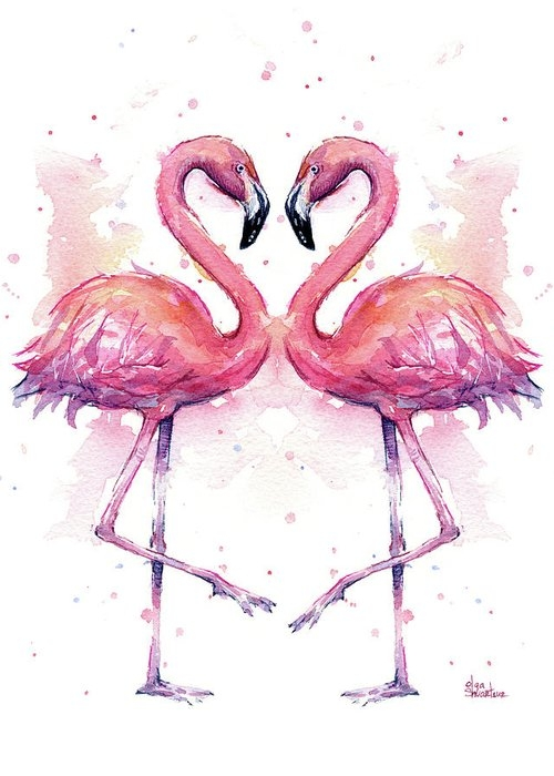 Two Flamingos In Love Watercolor Greeting Card