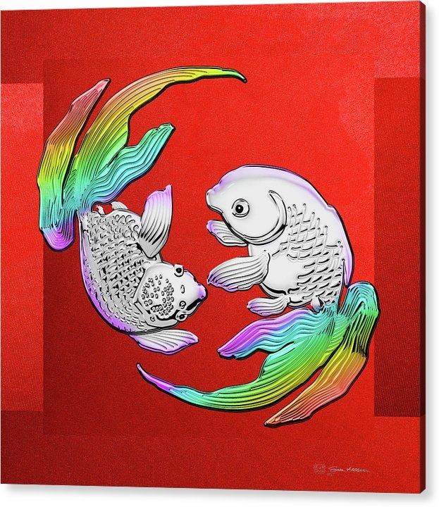Silver Japanese Koi Goldfish over Red Canvas Acrylic Print