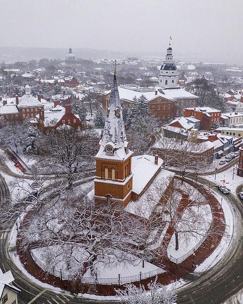 Snowy Annapolis Church Circle by Mid Atlantic Aerial