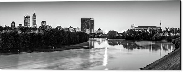 Indianapolis Panoramic Skyline - White River Black and White Canvas Print