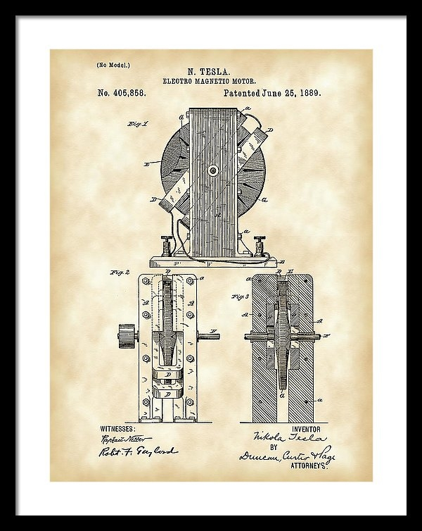 Tesla Electro Magnetic Motor Patent 1889 - Vintage by Stephen Younts