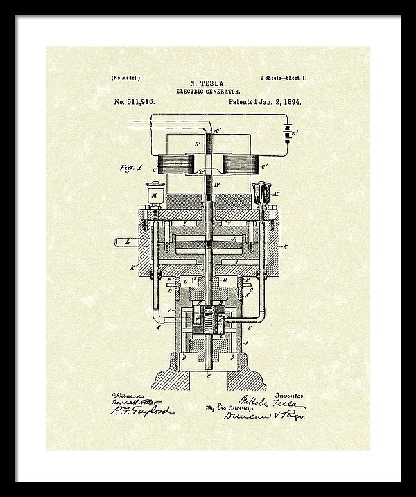 Electric Generator 1894 Patent Art by Prior Art Design