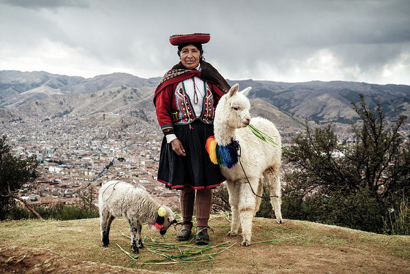 An indingeous Quechua woman with a baby alpaca and a sheep near Cusco, Peru by Kamran Ali