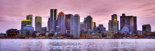 Boston Skyline at DUSK Color Panorama Pano by Jon Holiday