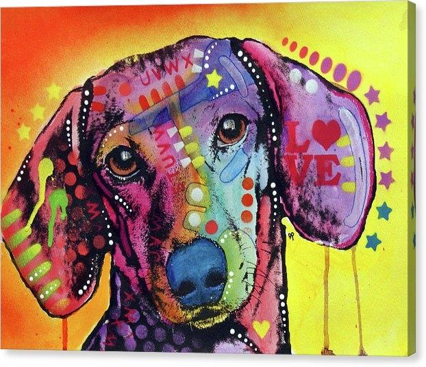 Tilt Dachshund Love by Dean Russo Art