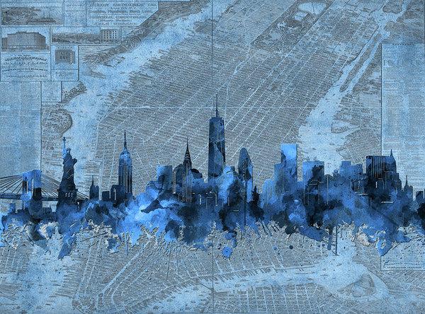 new york skyline vintage 4 by Bekim Art
