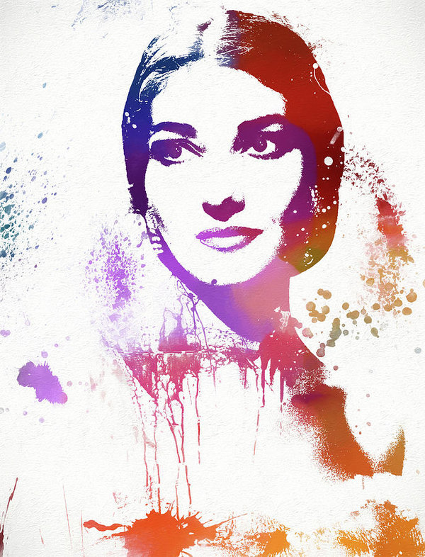 Maria Callas Paint Splatter by Dan Sproul
