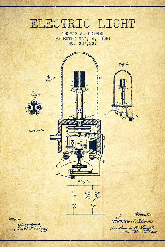 Electric Light Patent from 1880 - Vintage by Aged Pixel