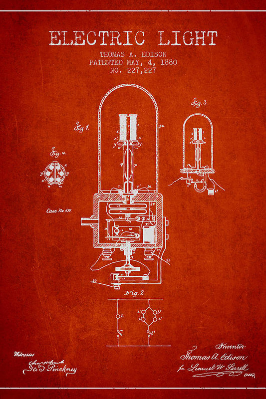 Thomas Edison Electric Light Patent from 1880 - Red by Aged Pixel