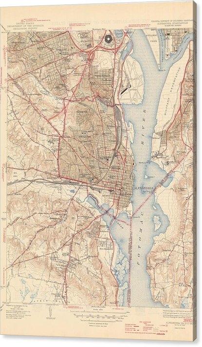 Vintage Map of Alexandria Virginia - 1945 by CartographyAssociates