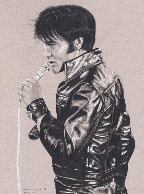 Elvis in Charcoal #177, No title by Rob De Vries