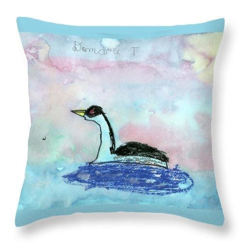 Western Grebe by Domani Thompson grade 1 Throw Pillow