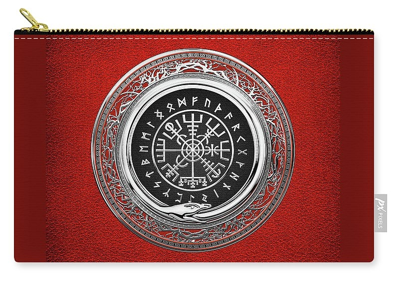 Vegvisir - A Silver Magic Viking Runic Compass on Red Leather  Zip Pouch
