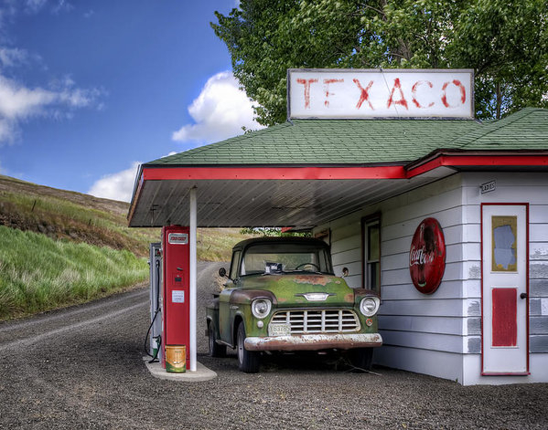 Vintage Gas Station - Chevy Pick-up by Nikolyn McDonald