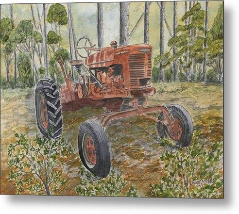 old tractor vintage art by Derek Mccrea