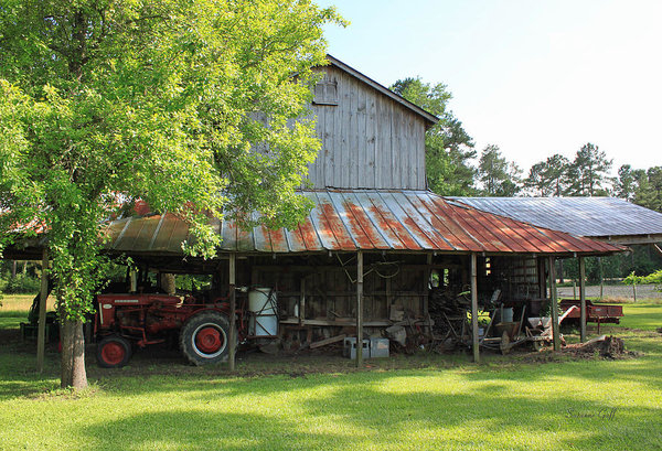 Old Barn with Red Tractor by Suzanne Gaff