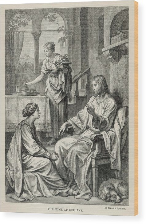 Jesus Talks With Mary While  Martha Wood Print