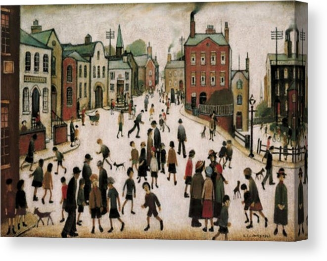 A VILLAGE SQUARE by LS LOWRY