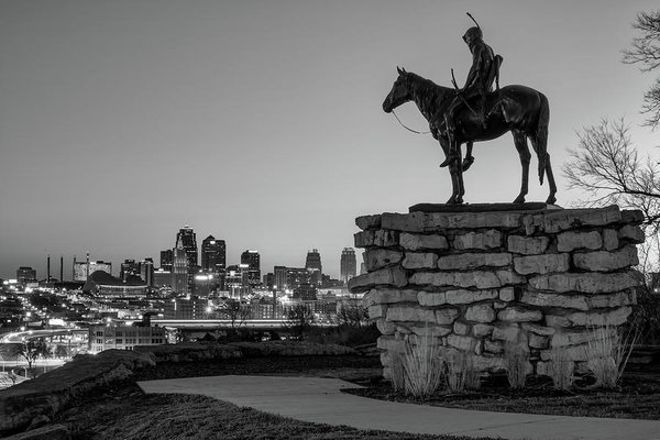 The Scout Overlooking the Kansas City Skyline - Black and White Print