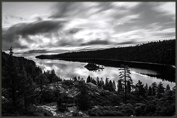 Emerald Bay Rays Black and White by Brad Scott by Brad Scott