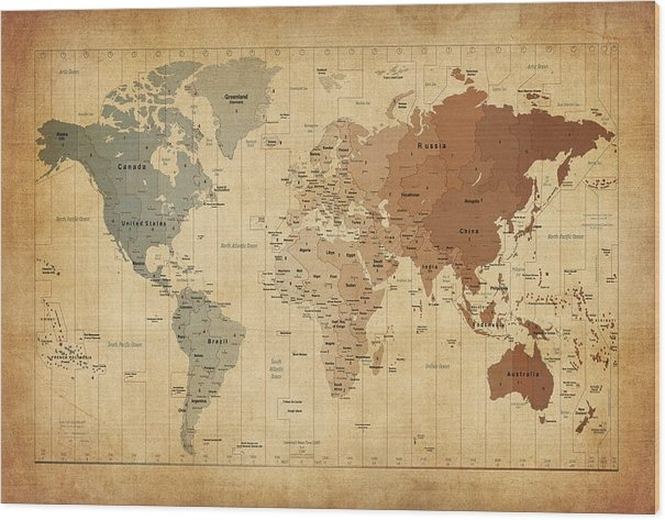 Time Zones Map of the World Wood Print