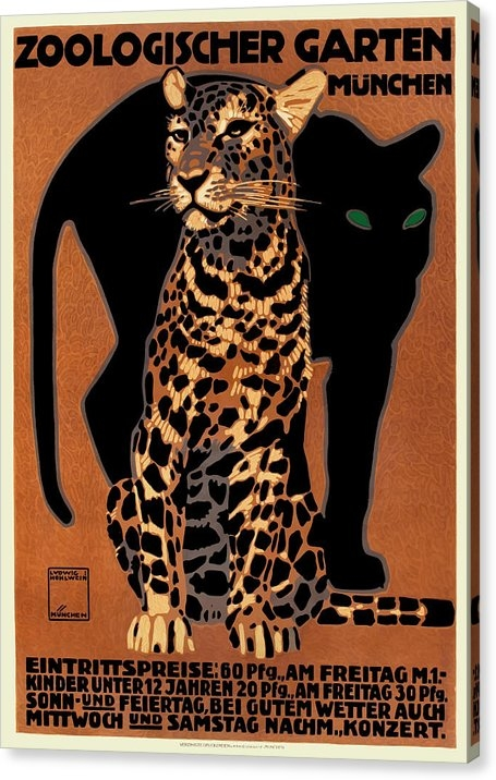 1912 Ludwig Hohlwein Leopard Munich Zoo Poster by Retro Graphics