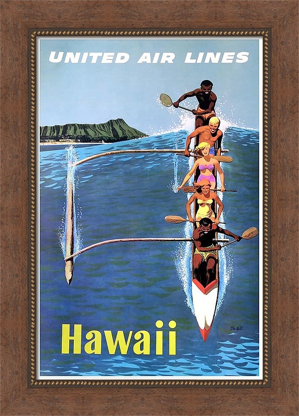 1953 United Airlines Hawaii Travel Poster by Retro Graphics