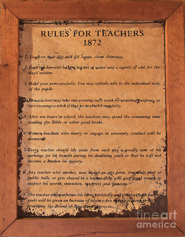 1872 Rules for Teachers by Gayle Johnson