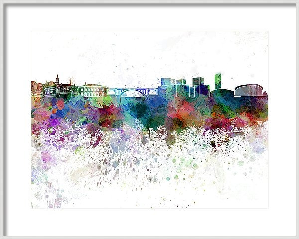 Luxembourg skyline in watercolor on white background by Pablo Romero