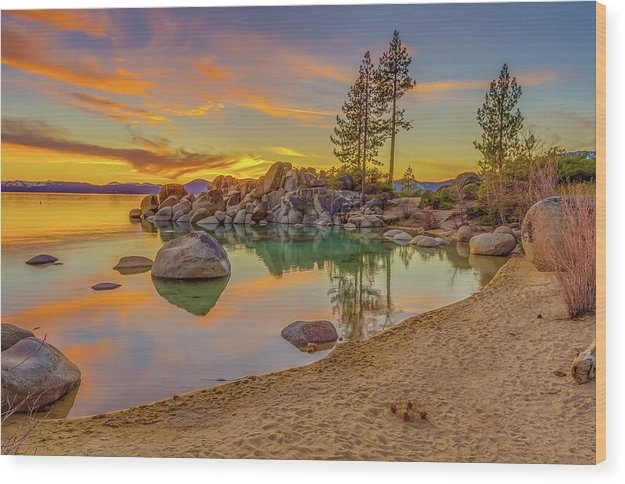 Lake Tahoe Majestic Sunset Wood Print