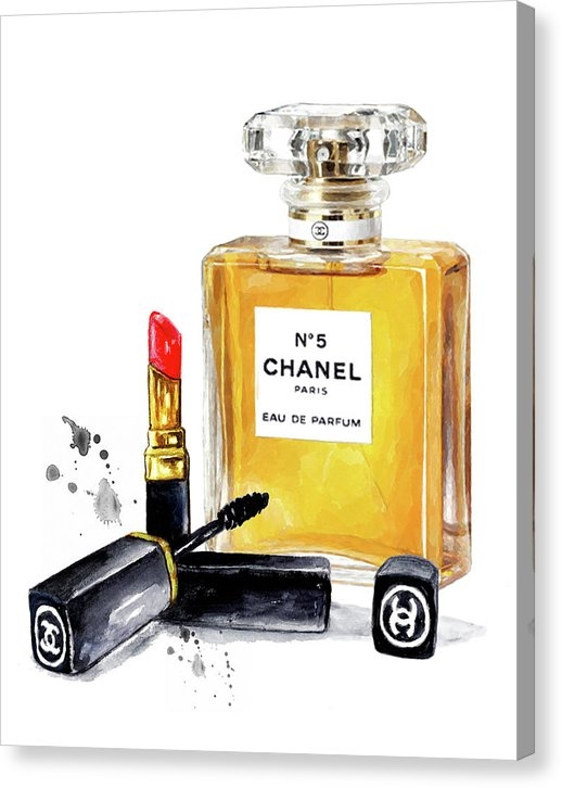 chanel n. 5 perfume with lipstick Canvas Print