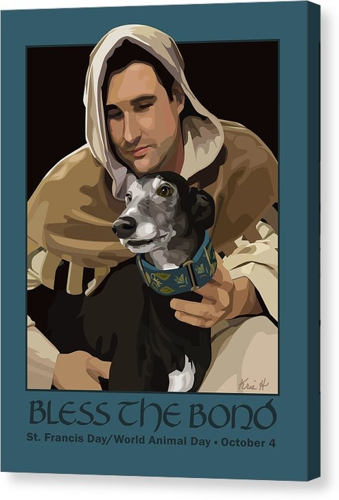 St. Francis with Greyhound Canvas Print