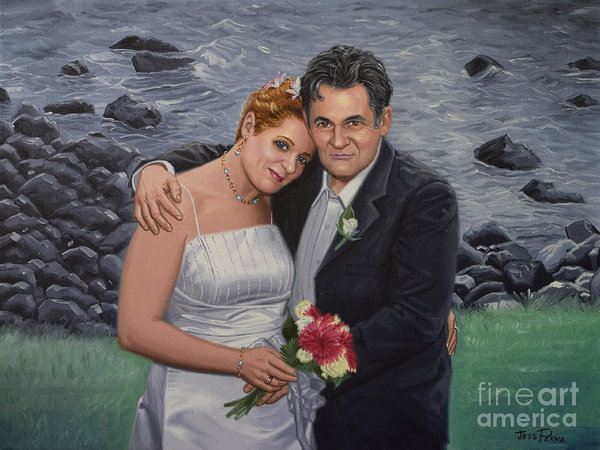 Loving Couple Wedding Oil Painting by Jess Perna
