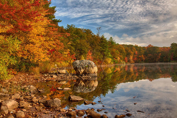 Morning reflection of fall colors by Jeff Folger