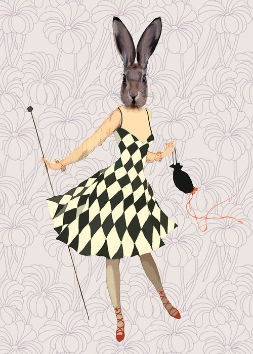 Rabbit in Black and White Dress Greeting Card