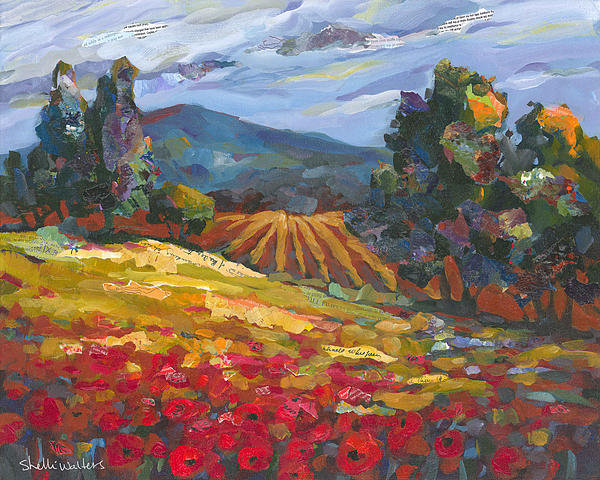 Shelli Walters - Red Flowers Near Hayfield Print