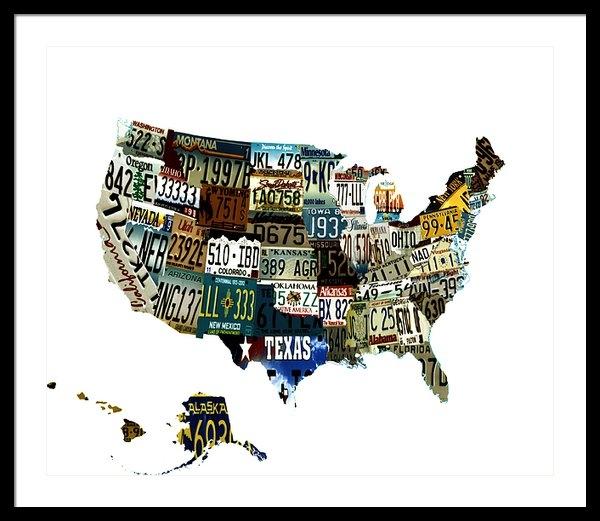 Brian Reaves - USA License Tag Map Print