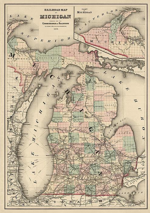 Blue Monocle - Antique Railroad Map of M... Print