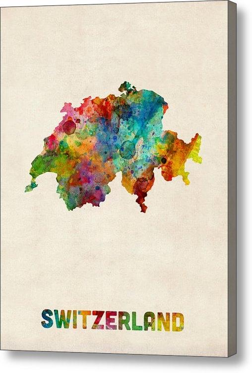Michael Tompsett - Switzerland Watercolor Ma... Print