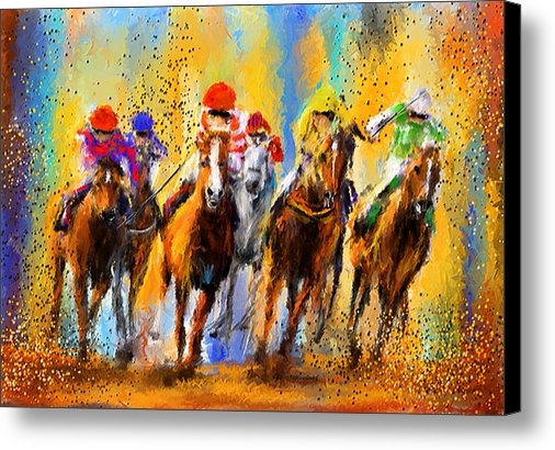 Lourry Legarde - Colorful Horse Racing Imp... Print