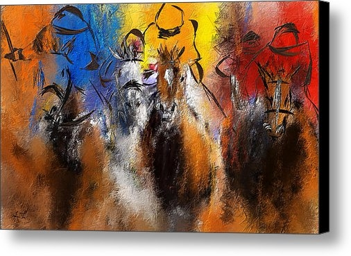 Lourry Legarde - Horse Racing Abstract  Print