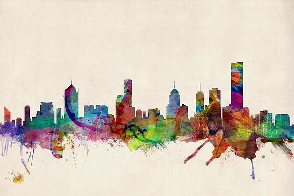Michael Tompsett - Melbourne Skyline Print