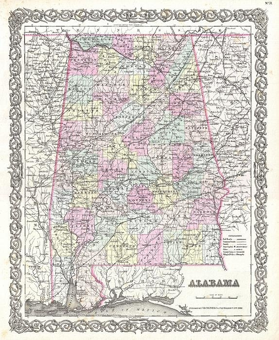 Paul Fearn - 1855 Colton Map of Alabam... Print