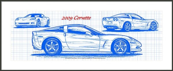 K Scott Teeters - 2009 C6 Corvette Blueprin... Print