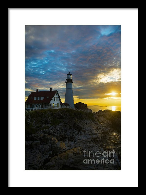 Diane Diederich - Portland Head Light at Da... Print