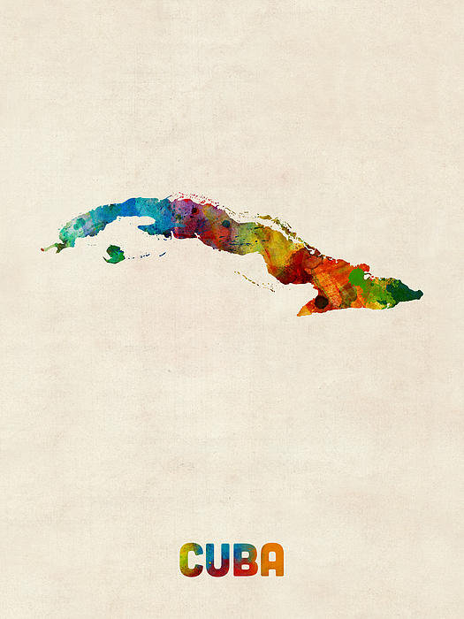 Michael Tompsett - Cuba Watercolor Map Print