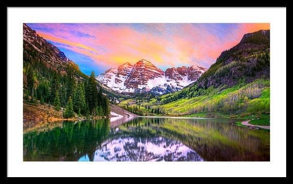 James O Thompson - Sunset at Maroon Bells an... Print